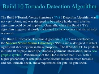 Build 10 Tornado Detection Algorithm