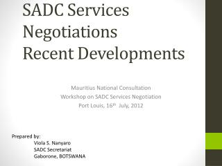 SADC Services  Negotiations  Recent Developments