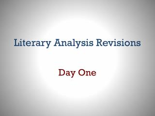 Literary Analysis Revisions