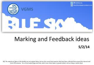 Marking and Feedback ideas