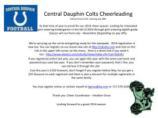 Central Dauphin Colts Cheerleading memo 2014