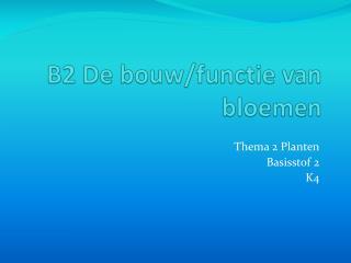 B2 De bouw/functie van bloemen