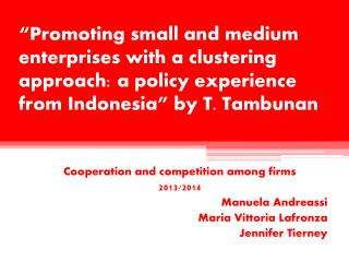 Cooperation and competition among firms 2013/2014 Manuela  Andreassi Maria  Vittoria Lafronza