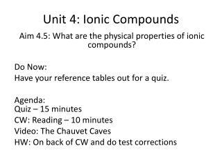 Unit 4: Ionic Compounds