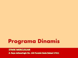 Programa Dinamis