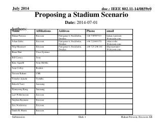 Proposing a Stadium Scenario