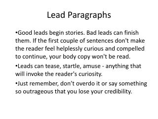 Lead Paragraphs
