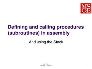 Defining and calling procedures (subroutines) in assembly