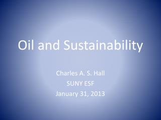 Oil and Sustainability