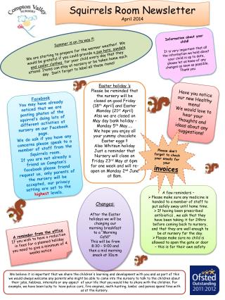 Squirrels  R oom  Newsletter   April 2014