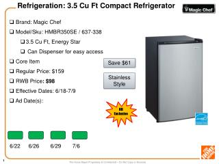 Brand:  Magic Chef  Model/Sku:  HMBR350SE / 637-338 3.5 Cu Ft, Energy Star