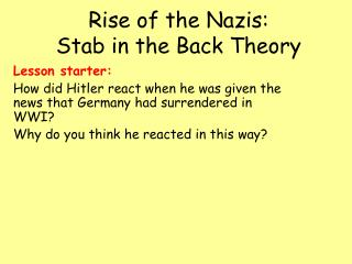 Rise of the Nazis:  Stab in the Back Theory