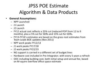 JPSS POE Estimate  Algorithm & Data Products