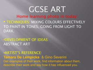 GCSE  ART Home learning photo in today: