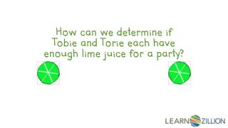 How can we determine if Tobie and Torie each have enough lime juice for a party?