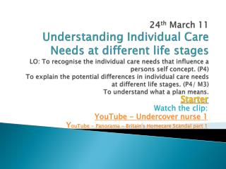 Starter Watch the clip: YouTube - Undercover nurse 1