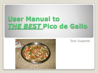 User Manual to  THE  BEST  Pico de Gallo