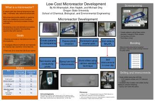 Low-Cost Microreactor Development By Ali Alhamadah, Alex Najdek, and Michael Ong