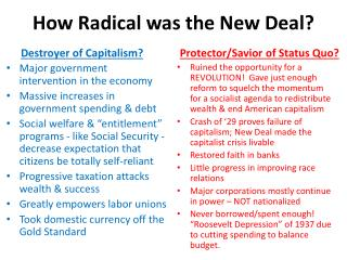 How Radical was the New Deal?