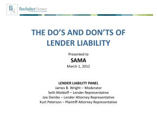 THE  DO'S AND DON'TS OF  LENDER LIABILITY