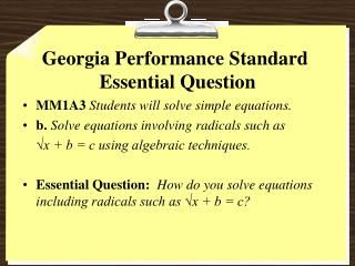 Georgia Performance Standard   Essential Question