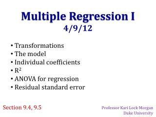 Multiple Regression I 4/9/12