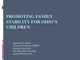 Promoting Family Stability for Ohio's Children