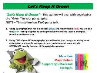 Main Idea  Major Details  Supporting Details and Examples