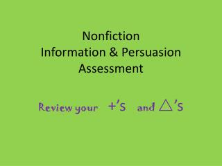 Nonfiction  Information & Persuasion Assessment