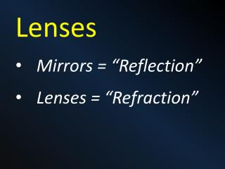 "Lenses Mirrors = ""Reflection"" Lenses = ""Refraction"""
