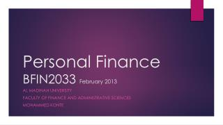 Personal Finance  BFIN2033  February 2013