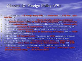 Chapter 18- Foreign Policy FP