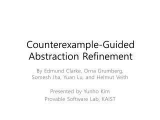 Counterexample-Guided Abstraction Refinement