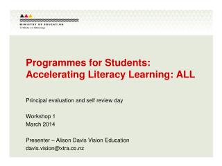 Programmes for Students: Accelerating Literacy Learning: ALL
