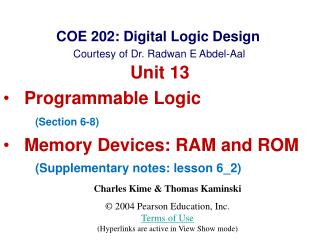 COE 202: Digital Logic Design Courtesy of Dr.  Radwan E Abdel-Aal