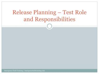 Release Planning – Test Role and Responsibilities
