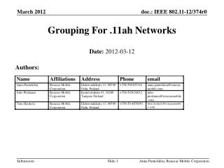 Grouping  For .11ah  Networks