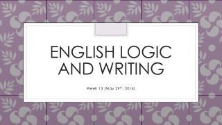 English Logic and Writing