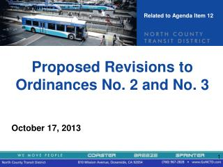 Proposed Revisions to Ordinances No. 2 and No. 3