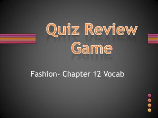 Quiz Review Game