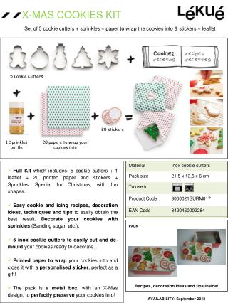 Set of 5 cookie cutters + sprinkles + paper to wrap the cookies into & stickers + leaflet
