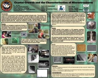 Crystal  Growth  and the Characterization of Microstructures