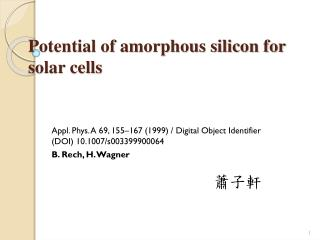 Potential of amorphous silicon for solar cells