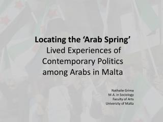 Locating the �Arab Spring� Lived Experiences of Contemporary Politics  among Arabs in Malta