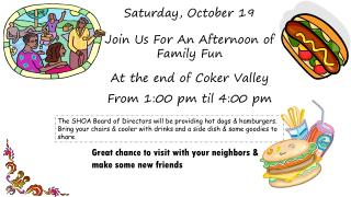 Saturday, October 19 Join Us For An Afternoon of Family Fun At the end of Coker Valley