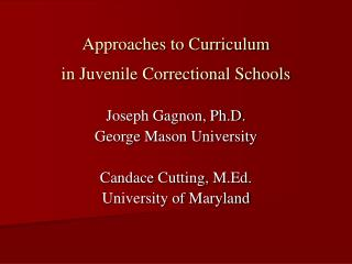 Approaches to Curriculum  in Juvenile Correctional Schools