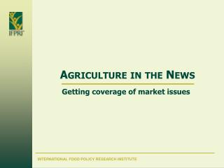 Agriculture in the News