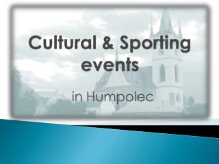 Cultural & Sporting events