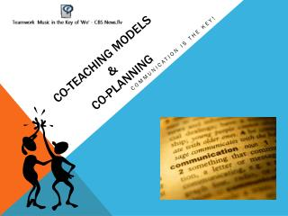 Co-Teaching Models  &  co-planning