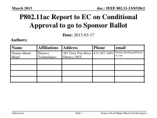 P802.11ac  Report to EC on  Conditional Approval  to go to Sponsor Ballot